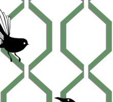 Tui and Fantail on a Lattice Sticker