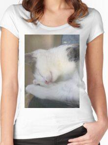 Sleepy Kitty Tee Women's Fitted Scoop T-Shirt