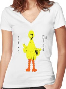 Save Big Bird Women's Fitted V-Neck T-Shirt