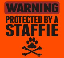 Warning Protected By A Staffie Kids Tee