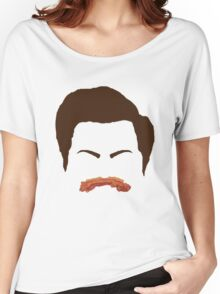 Ron Swanson Bacon Mustache  Women's Relaxed Fit T-Shirt