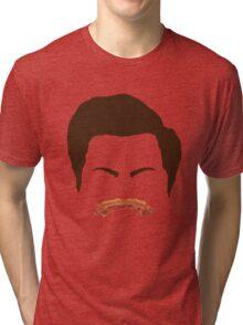 Ron Swanson Bacon Mustache  Tri-blend T-Shirt