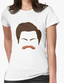 Ron Swanson Bacon Mustache  Womens Fitted T-Shirt