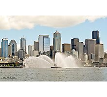Downtown Seattle and fireboat - Seattle WA Photographic Print