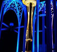 Space Needle at Night Seattle Washington by Tiffany Muff
