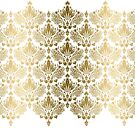 Gold And White Floral Damask Lace by artonwear