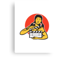Asian woman girl with movie clapboard Canvas Print