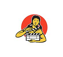 Asian woman girl with movie clapboard Photographic Print