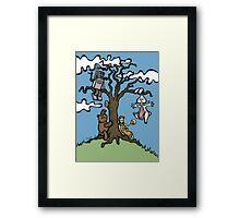 Teddy Bear And Bunny - Their Special Tree Framed Print