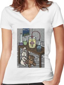 Teddy Bear and Bunny - The Rescue Came Too Late Women's Fitted V-Neck T-Shirt