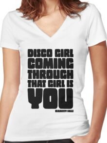 Disco Girl Gravity Falls Women's Fitted V-Neck T-Shirt