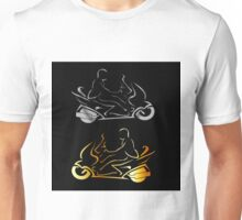 Motorbike with a person wearing helmet  Unisex T-Shirt
