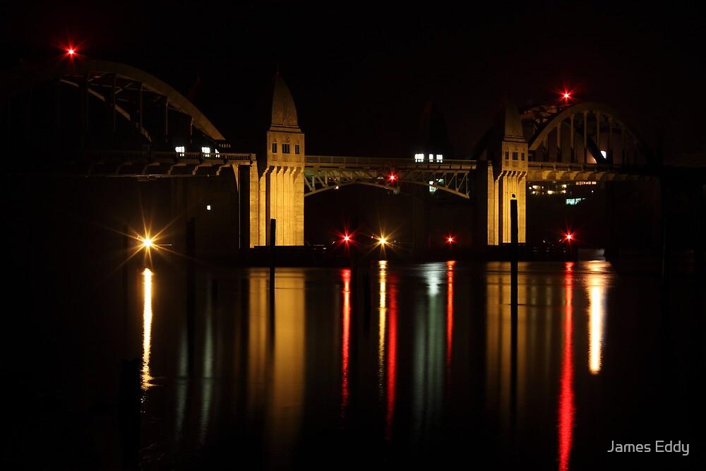 Siuslaw River Bridge Reflections by James Eddy