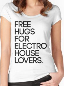 Free Hugs For Electro House Lovers. (Black) Women's Fitted Scoop T-Shirt