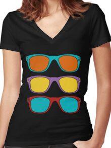 Retro SunGlasses Women's Fitted V-Neck T-Shirt