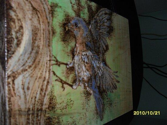 Bluebird feeding kiddies by lynnieB