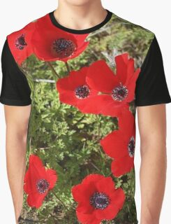 Red Wild Anemone Flowers  Graphic T-Shirt