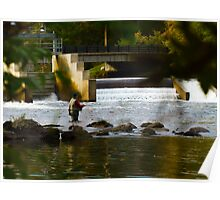 Fly Fishing the Dam Poster