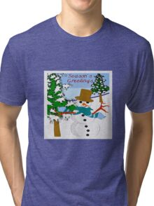 Christmas Seasons Greetings Snowman Tri-blend T-Shirt