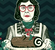 Yule Log Lady (in Green) Sticker
