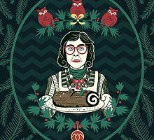 Yule Log Lady (in Green) by littleclyde