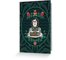 Yule Log Lady (in Green) Greeting Card