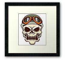 Funny biker skull Framed Print