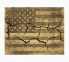 American Flag on Cracked Wall Vintage Kids Tee