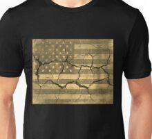 American Flag on Cracked Wall Vintage Unisex T-Shirt