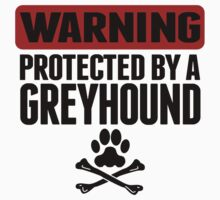 Warning Protected By A Greyhound Kids Tee