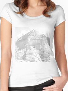 Mill Gray - Pencil Black and White Women's Fitted Scoop T-Shirt