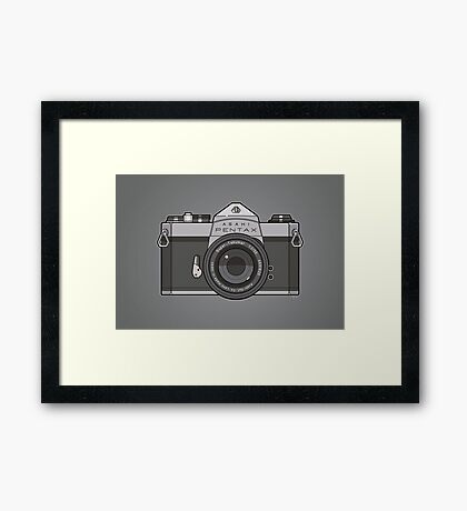 Asahi Pentax 35mm Analog SLR Camera Line Art Graphic Gray Framed Print