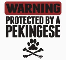 Warning Protected By A Pekingese One Piece - Short Sleeve