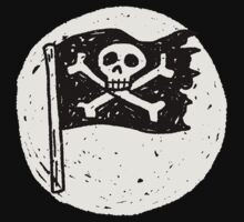 Kid Pirate skull on da moon Kids Tee