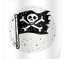 Kid Pirate skull on da moon Poster