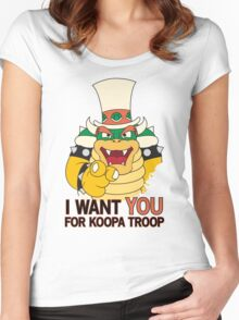 Bowser Wants You - no border Women's Fitted Scoop T-Shirt