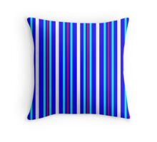 Vertical Stripes  Blue Red Turquoise White Throw Pillow