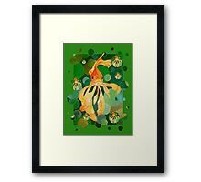 Vermilion Goldfish Swimming In Green Sea of Bubbles Framed Print