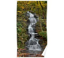 Forest Waterfall In Autumn Poster