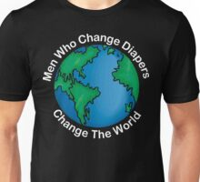 """New Dad Father """"Men Who Change Diapers Change The World"""" Father's Day Dark Unisex T-Shirt"""
