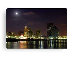Israel Tel Aviv The shoreline at night  Canvas Print