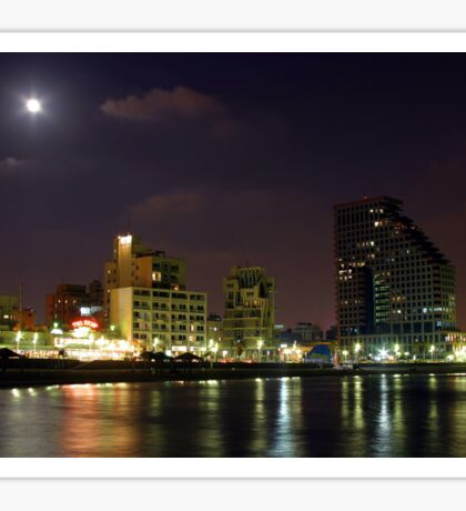Israel Tel Aviv The shoreline at night  Sticker