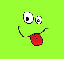 Silly teasing smiley face sticking out tongue green iPhone case by Mhea