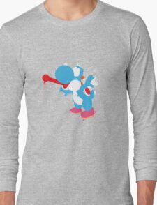 Blue Yoshi Splatter Design Long Sleeve T-Shirt