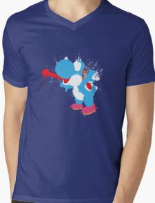 Blue Yoshi Splatter Design Mens V-Neck T-Shirt
