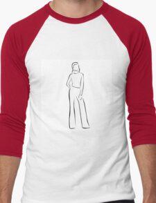 Girl posing in fashionable outfit  Men's Baseball ¾ T-Shirt