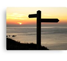 Signpost to a Sunset. Canvas Print