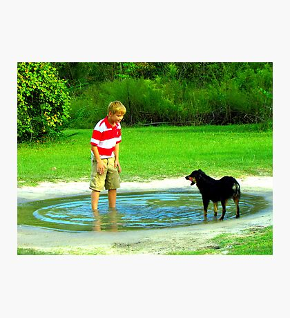 zack and the dog in a puddle Photographic Print