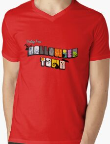 Halloween Town Postcard Mens V-Neck T-Shirt