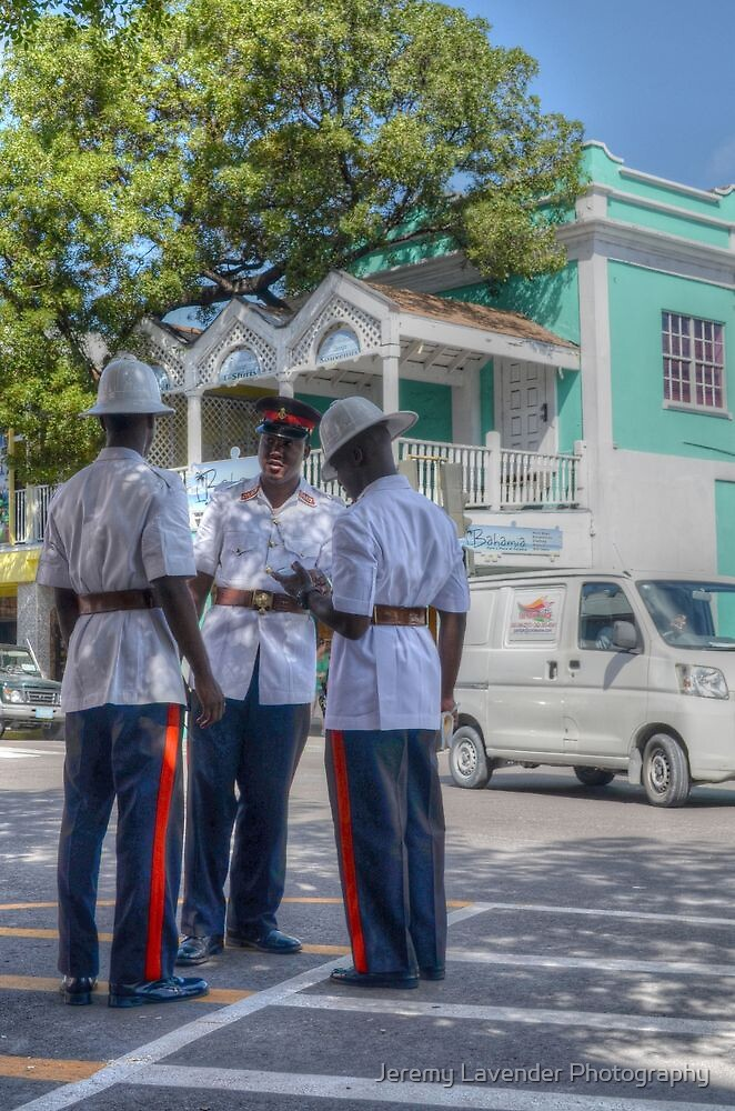Police Officers on Bay Street in Downtown Nassau, The Bahamas by Jeremy Lavender Photography